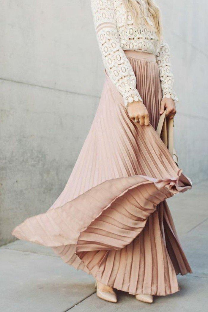 Longues Femme 00 En Jupes Pale Blanche Blouse Rose Dentelle Jupe H2YED9eWbI